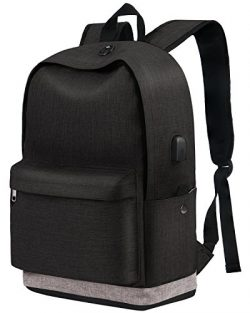 School Backpack for laptop, Unisex Water-resistant Student Travel Back Bag with USB Charging Por ...