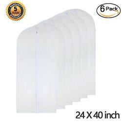 """HomeClean Garment Bag Clear 24"""" x 40"""" Suit Bag Moth Proof Garment Bags White Breatha ..."""