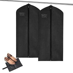 MaidMAX Garment Bags + Bonus Shoe Bag, Set of 2 Breathable Covers with Clear Plastic Label Holde ...