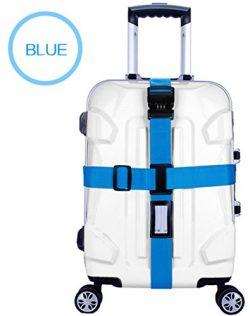 Zaptex Nylon Luggage Strap with Lock Travel Suitcase Belts (Blue)