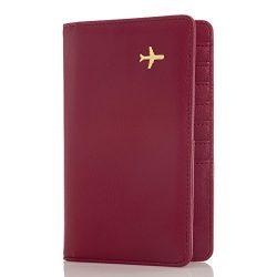 All in One Travel Wallet – 2 Passport Holder + Gift Box / cash tickets cards pen (Marsala)
