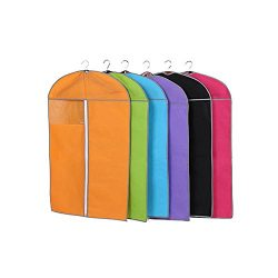 Garment Bags for Storage,Set of 6 Multiple Color Non Woven Fabric Breathable Garment Covers, Win ...