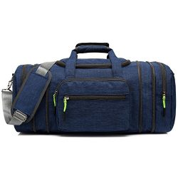 Kenox Oversized Canvas Travel Tote Luggage Weekend Duffel Bag (Blue)