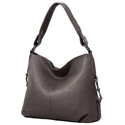 YALUXE Women's Stylish Genuine Leather Tote Travel Shoulder Bag Handle bag Bags for Women grey