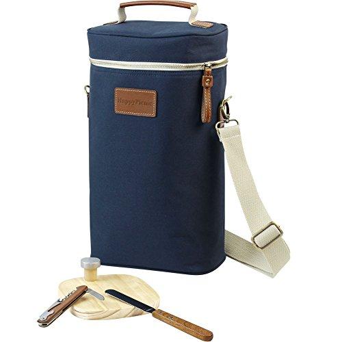 2 Bottle Wine Tote Bag,Insulated Travel Wine Carrier,2 Bottle Wine Bottle Cooler Bag Set with Pi ...