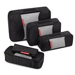 Travel Packing Cubes, Gonex Luggage Organizers L+2S+Slim+Laundry Bag Black