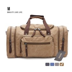 Oversized Canvas Leather Weekender Bag Travel Duffel Shoulder Handbag with Strap by MEWAY (CANVA ...