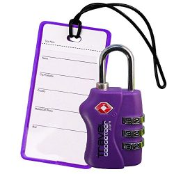 TSA Luggage Lock + Matching TAG | BRIGHT COLORS Help Easily Identify Your Luggage