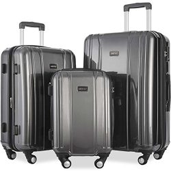 Merax 3 Piece Expandable TSA Luggage Set (Gray)
