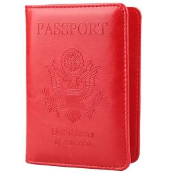 GDTK Leather Passport Holder Cover RFID Blocking Travel Wallet (Red)