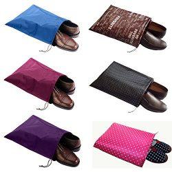 FashionBoutique waterproof Nylon shoe bags- New 6 Colors Set travel friends (Sky Blue/Rose Red/P ...