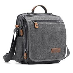 Plambag Canvas Messenger Bag Small Travel School Crossbody Bag Fit iPad Grey