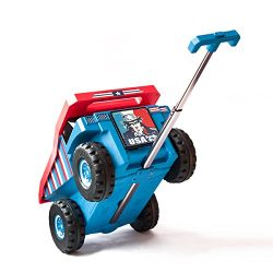 PUQU Monster Truck Design Kids Travel Suitcase Toddler Luggage With Wheels (Blue)