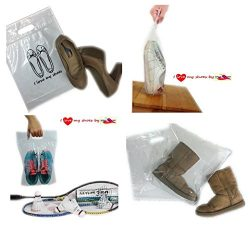 I Love my Shoes Shoes Bags Plastic Zip Lock 3 Sizes in 1 Set of 12 Pieces, for travel or dust co ...