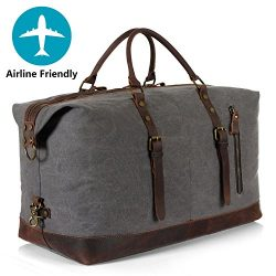 Lifewit Oversized Unisex's Travel Duffle Bags Canvas Genuine Leather Weekender Overnight C ...