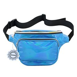 Waterproof Shiny Neon Fanny Bag for Women Rave Festival Hologram Bum Travel Waist Pack (Blue)