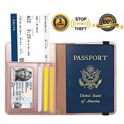 Passport Holder Cover RFID Blocking Leather Card Case Travel Wallet – Rose Gold