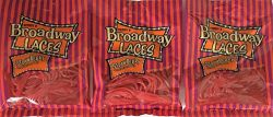 Gerrit's Broadway Laces Strawberry Flavor Shoe String Licorice 4 Ounce Bag (Pack of 3)