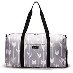 Jadyn B 22″ Women's Weekender Duffel Bag with Shoe Pocket, Arrow Tails Gray