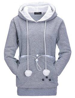 Bangerdei Women's Kangaroo Pouch Pet Holder Carrier Hoodie Cat Dog Sweatshirt (S, Grey3)