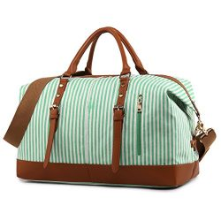 Weekend Travel Bag Ladies Women Duffle Tote Bags PU Leather Trim Canvas Overnight Bag (Green)