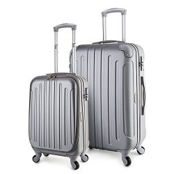 "TravelCross Victoria Lightweight Hardshell Spinner Luggage (Silver, 2-piece set (20""/28&#8 ..."