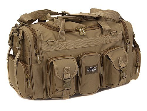 Mens Large 22″ Inch Tan Duffel Duffle Military Molle Tactical Gear Shoulder Strap Travel Bag