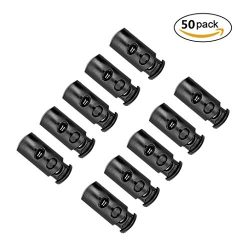 50 Pcs Black Plastic Toggle Double Hole Spring Loaded Elastic Drawstring Rope Cord Locks Clip En ...