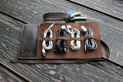 Leather Cord Organizer Wrap Holder Cable bag Roll Holder Earphone wrap winder Travel Accessories ...