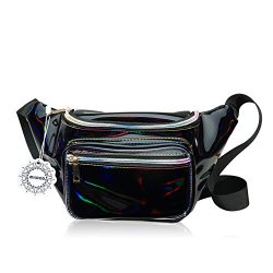 Water Resistant Shiny Neon Fanny Bag for Women Rave Festival Hologram Bum Travel Waist Pack (Black)