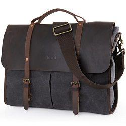 Lifewit Men's Messenger Bag Leather Waterproof Waxed Canvas Laptop Satchel Shoulder Briefcase