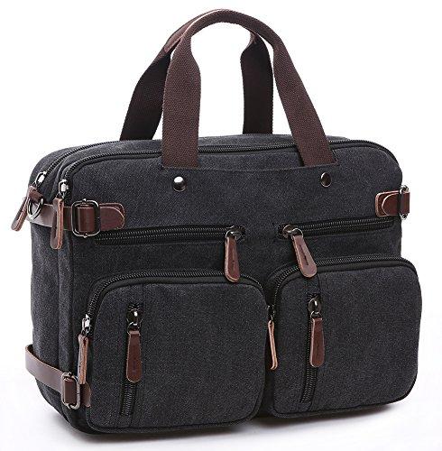 a1e3dee111 Collsants Laptop Hybrid Bag Briefcase Convertible Backpack Messenger Bag  Waxed Canvas Leather (B ..