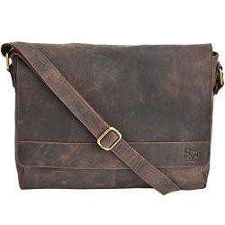Leather Laptop Messenger Bag Office Briefcase College Bag (Brown Crazy Horse)