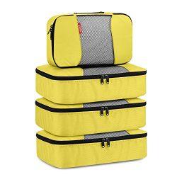 Travel Packing Cubes, Gonex Luggage Organizers 3 Medium+1 Small Yellow