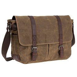 Waterproof Waxed Canvas 15.6″ Laptop Messenger Bag Men Business Vintage shoulder bag / Bri ...