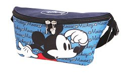 Disney Mickey Minnie Mouse Zippered Waist Fanny Pack Belly Bag for Travel Belt Bag (Blue Mickey)