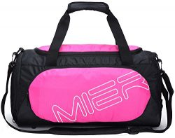 MIER Small Gym Sports Bag for Men and Women with Shoes Compartment, 18inch(Pink)