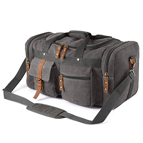 Plambag Oversized Canvas Duffel Bag Overnight Travel Tote Weekend Bag(Gray)