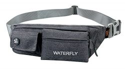 WATERFLY Slim Soft Polyester Water Resistant Waist Bag Pack for Man Women Outdoors Running Climb ...