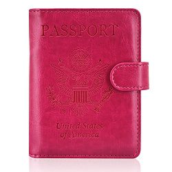 ACdream Leather Passport Holder [Bonus Stylus] Cover Case RFID Blocking Travel Wallet with Magne ...