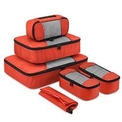 Travel Packing Cubes, Gonex Luggage Organizers L+M+3XS+Laundry Bag Tangerine