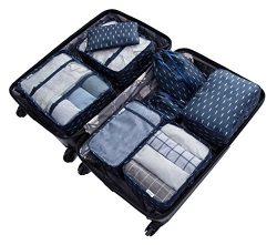 8 Set Packing Organizer,Waterproof Mesh Travel Luggage Packing Cubes with Shoes Bag (navy features)