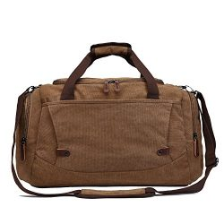 Travel Duffel Canvas&Leather Gmy Bag Overnight Weekender Bags women men (Coffe 3)