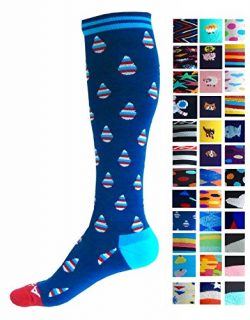 Compression Socks (1 pair) for Women & Men by A-Swift,Raindrops,S/M