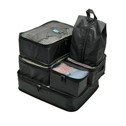 P.travel Durable 6 Set Packing Cubes, Travel Luggage Packing Organizers with Laundry shoe Bag