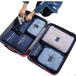 7Pcs Waterproof Travel Storage Bags Clothes Packing Cube Luggage Organizer Pouch (Navy)