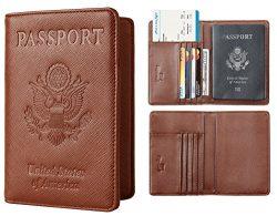 NapaWalli Leather Passport Holder Wallet Cover Case RFID Blocking Travel Wallet (crosshatch brown)
