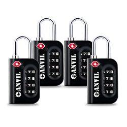 Anvil TSA Luggage Locks (4 Pack) – 4 Digit Combination Steel Padlocks – Approved Tra ...
