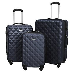 3 Piece Luggage Set Durable Lightweight Hard Case Spinner Suitecase LUG3 SS577A NAVY NAVY