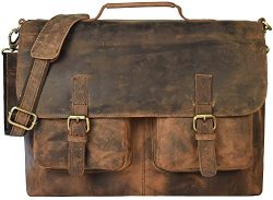 kk's 18″ Inch Retro Buffalo Hunter Leather Laptop Messenger Bag Office Briefcase Col ...